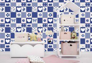 Papel de parede com estilo Patchwork para quarto infantil