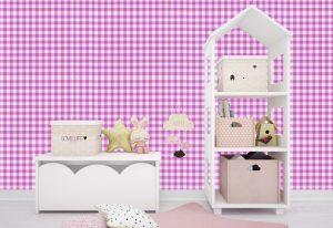 Papel de Parede Xadrez Rosa e Branco para decoração de interiores