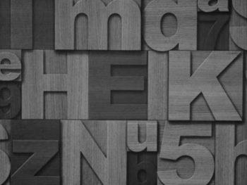 Papel de Parede 3D com letras em estilo amadeirado