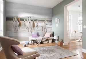Ambiente Decorado Painel fotográfico com cavalos branco correndo