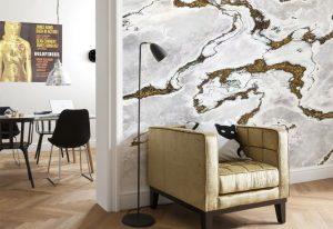 Ambiente decorado com painel fotográfico marmorizado