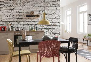 Ambiente decorado com Painel fotográfico de Tijolinho Branco
