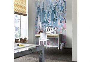 ambiente decorado de painel fotogáfico com arranha céu 3d