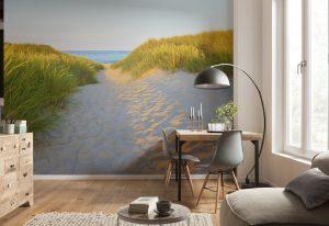 Ambiente decorado com painel fotografico caminho para o mar