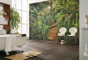 Ambiente Decorado com painel fotográfico de selva