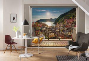 Ambiente Decorado Painel Fotográfico com Imagem de Vernazza