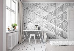 Ambiente decorado com painel fotográfico geométrico branco delta