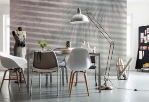 Ambiente decorado com painel fotográfio de cimento queimado