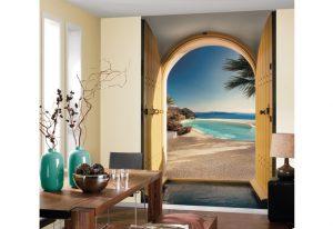 ambiente decorado com Painel Fotográfico com vist para Praia de Santorini