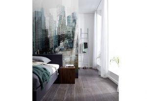 Ambiente decorado com Painel Fotográfico Urbano 3D