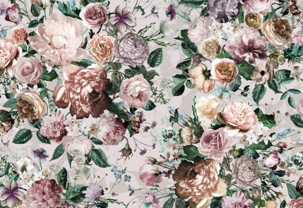 Painel fotográfico buque de flores em tom pastel