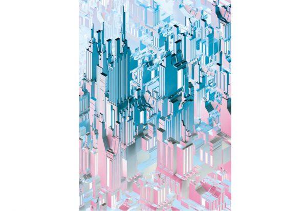 painel fotogáfico com arranha céu 3d