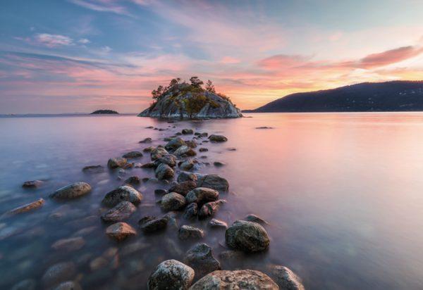 Painel Fotográfico com foto do mar e pôr do sol