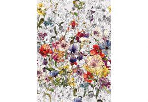 painel fotográfico com imagem de flores coloridas