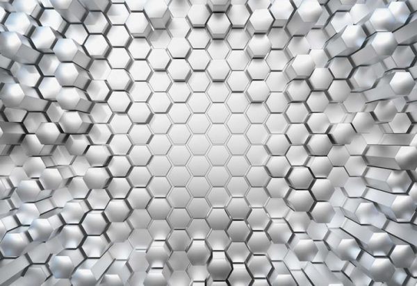 painel fotográfico de exagonos de metal 3d