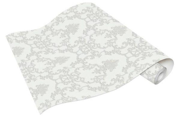 Rolo de Papel de Parede Adamascado Branco e Cinza Ref. 6376-01