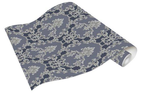 Rolo de Papel de Parede Adamascado Azul e Cinza Ref. 6376-08
