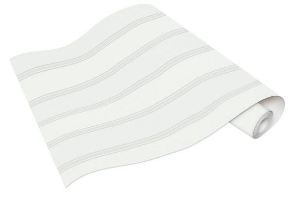 Rolo de Papel de Parede de Listras Brancas e Cinza Ref. 6377-01