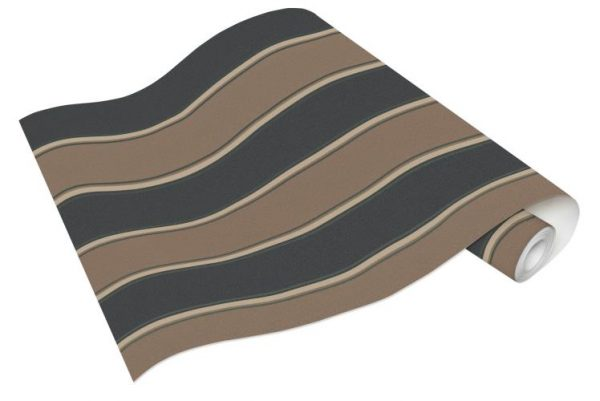 Rolo de Papel de Parede de Listras Marrom e Cinza Ref. 6377-11