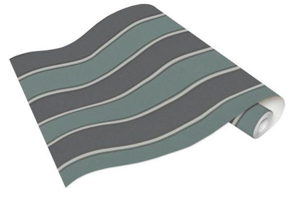 Rolo de Papel de Parede de Listras Verde e Cinza Ref. 6377-18