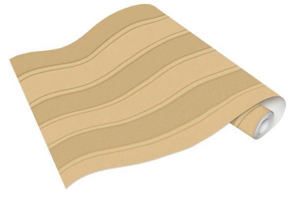 Rolo de Papel de Parede de Listras Bege e Dourado Ref. 6377-27