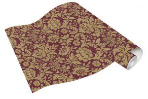 Rolo de Papel de Parede Arabesco Marsala e Dourado Ref. 6378-06