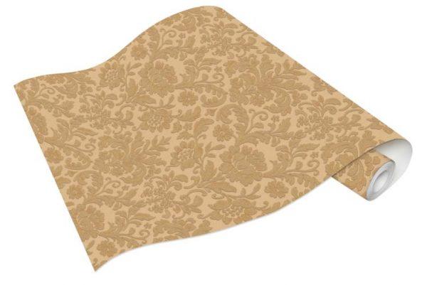 Rolo de Papel de Parede Arabesco Dourado e Bege Ref. 6378-27