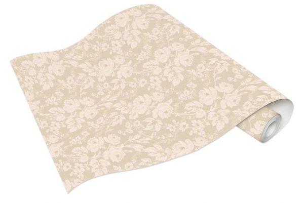 Rolo de Papel de Parede de Flores Bege e Dourado Ref. 6379-02