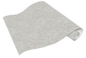 Rolo Papel de Parede Flores Brancas Acizentadas Ref-6379-31
