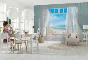 Ambiente decorado com painel fotográfico Malibu