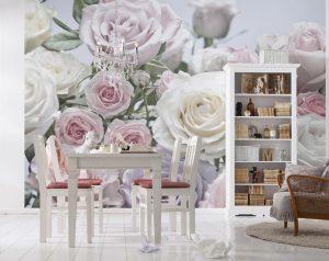 Ambiente Decorado Flores Rosas e Brancas Ref. 8-736