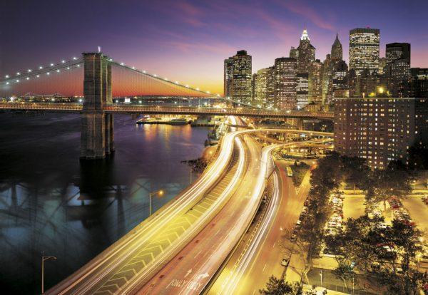 Painel Fotográfico Ponte de NYC Iluminada Ref. 8-516