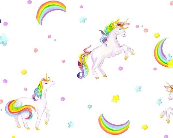 Papel de Parede Arco íris e Unicórnio