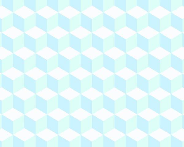 Papel de Parede Geométrico Cubo Azul