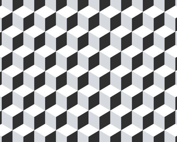 Papel de Parede Geométrico Cubo Preto