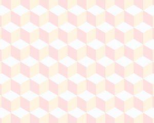 Papel de Parede Geométrico Cubo Rosa