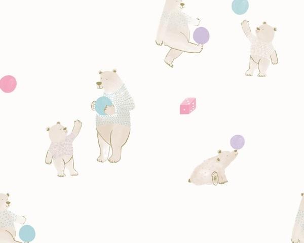Papel de Parede infantil com ursinho e bolas rosa e azul