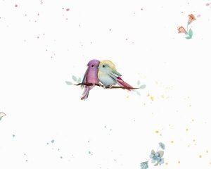 Papel de parede infantil com desenhos de passarinhos