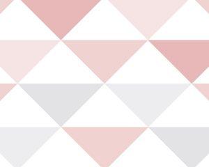 Papel de Parede Infantil Rosa e Cinza Triângulo