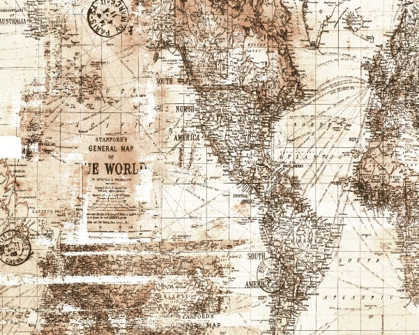 Papel de Parede Mapa Mundi marrom
