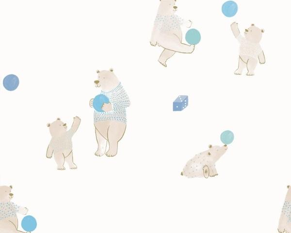 Papel de Parede Infantil Ursinho com bolinha Azul