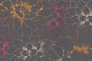 Papel de Parede Flores Neon e Cinza Ref. 5425-04