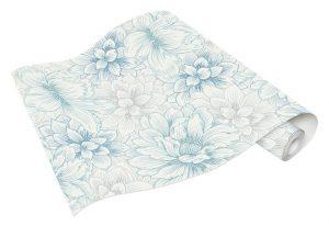 Rolo de Papel de Parede Flores Brancas e Verdes Ref. 5425-08