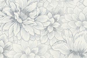 Papel de Parede de Flores Brancas e Cinza Ref. 5425-10