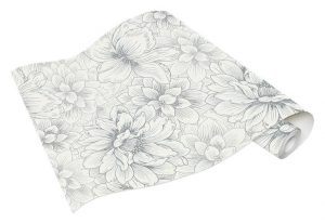 Rolo de Papel de Parede de Flores Brancas e Cinza Ref. 5425-10