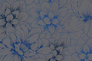 Papel de Parede Flores Cinza e Azul Ref. 5425-15