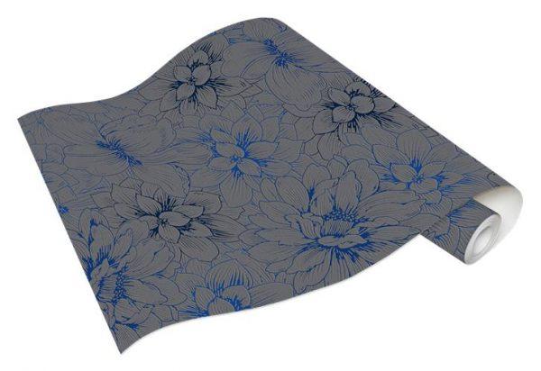 Rolo Papel de Parede Flores Cinza e Azul Ref. 5425-15