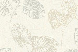 Papel de Parede de Folhas Brancas e Cinza Ref. 5426-02