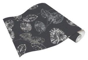 Rolo de Papel de Parede Cinza com folhas Brancas-Ref. 5426-15