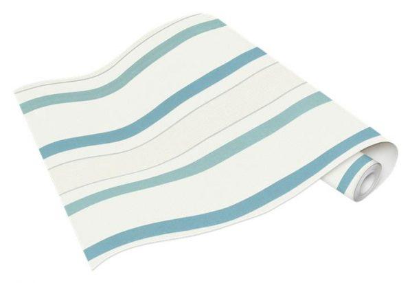 Rolo de Papel de Parede de Listras Azul e Branca Ref. 5429-08